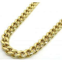 14k Yellow Gold Hollow Miami Cuban Link Chain 18-24 Inches 4.50mm