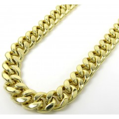 14k Yellow Gold Hollow Miami Cuban Link Chain 18-24 Inches 9mm