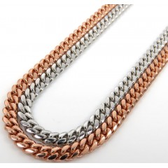 14k Rose Or White Gold Solid Miami Link Chain 20-30 Inch 3.20mm