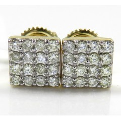 14k Yellow Gold 4 Row Square Diamond Earrings 0.40ct