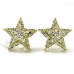 14k Yellow Gold Diamond Stacked Star Earrings 0.55ct