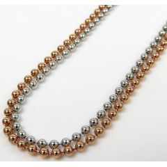 14k White Or Rose Gold Smooth Ball Link Chain 20-28 Inches 2mm