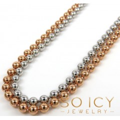 14k White Or Rose Gold Smooth Ball Link Chain 20-28 Inches 3mm
