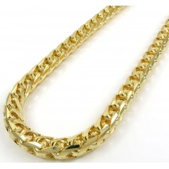 14k Yellow Gold Solid Facet Cut Franco Chain 26 Inch 6mm