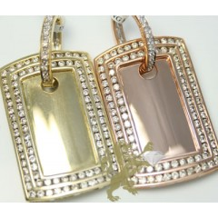 1.70ct 14k Solid Yellow Or Rose Gold mini 2 Row Round Diamond Dog Tag