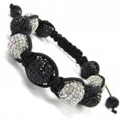 Black & White Xl Rhinestone Macramé Black Bead Rope Bracelet 10.00ct