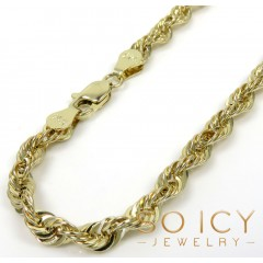 14k Yellow Gold Hollow Rope Bracelet 8 Inch 3.80mm