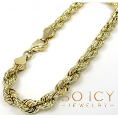 14k Yellow Gold Hollow Rope Bracelet 8 Inches 5.50mm