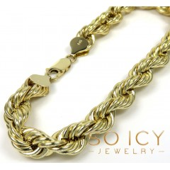 14k Yellow Gold Xl Hollow Rope Bracelet 8.50 Inches 8.50mm