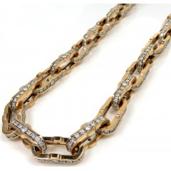 Baraka 18k Two Tone Gold Diamond Prive Collection Cable Chain 24 Inch 19.40ct