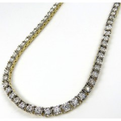 14k Yellow Gold Round 7 Pointer Diamond Illusion Tennis Chain 4.50mm 8.50ct 20-30