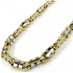 14k Two Tone Gold Fancy Anchor Link Chain 24-30 Inch 6mm