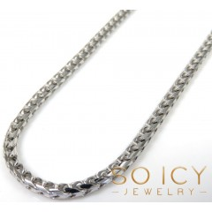 14k Solid White Gold Franco Chain 18-24 Inch 2mm