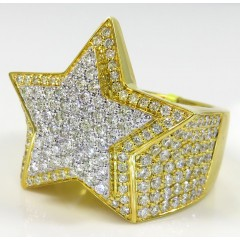 14k Yellow Gold Diamond Vs Double Star Ring 2.41ct