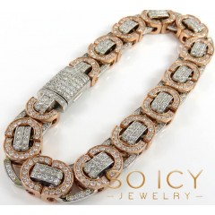 14k Two Tone Diamond Byzantine Bracelet 8.50