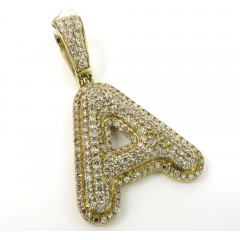 10k Yellow Gold Diamond Custom Made Initial Pendant 1.60ct