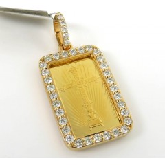 10k Yellow Gold Diamond Frame With 24k Gold Cross Bar Pendant 1.18ct