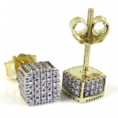 10k Yellow Gold 5x5 Diamond Cube Earrings 0.21ct