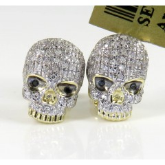 10k Yellow Gold Black & White Diamond Skull Earrings 0.23ct
