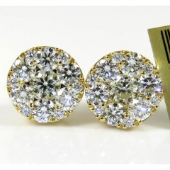10k Yellow Gold Round Frame 26 Diamond Cluster 9mm Earrings 1.55ct