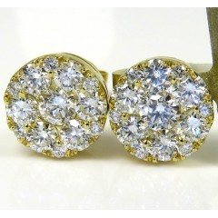 10k Yellow Gold Round Frame 26 Diamond Cluster 8mm Earrings 1.10ct