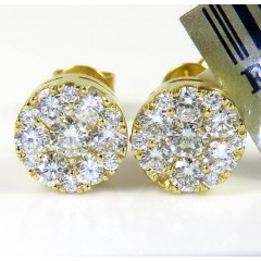 10k Yellow Gold Round Frame 26 Diamond Cluster 7mm Earrings 0.77ct