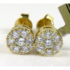 10k Yellow Gold Round Frame 26 Diamond Cluster 6mm Earrings 0.45ct