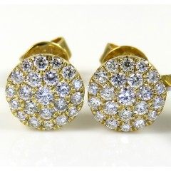 10k Yellow Gold Round Diamond 6.50mm Cluster Earrings 0.28ct