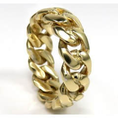10k Yellow Gold 8mm Solid Miami Cuban Link Ring