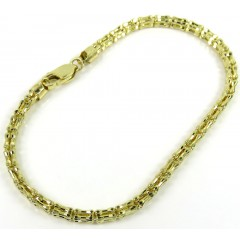10k Yellow Gold Iced Bone Link Bracelet 8.50 Inch 3.20mm