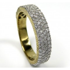 10k Yellow Gold Four Row Diamond Wedding Band Ring 1.27ct
