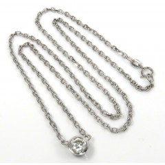 14k White Gold Bezel Diamond Cable Link Necklace 16-22