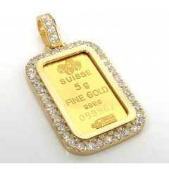 14k Yellow Gold Large Diamond Credit Suisse Bar Pendant 1.35ct