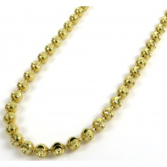 10k Yellow Gold Moon Cut Bead Link Chain 20-26 Inch 2.50mm