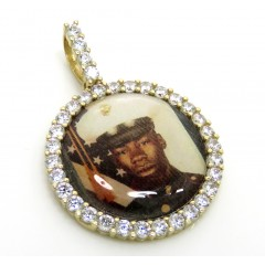 10k Yellow Gold Small Cz Picture Pendant 1.00ct