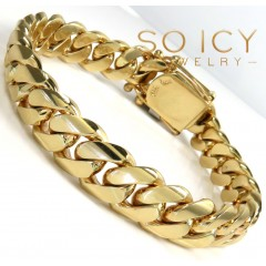14k Yellow Gold Solid Thick Miami Bracelet 8.25