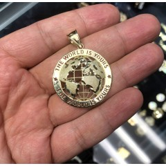 10k Yellow Gold Large The World Is Yours Pendant