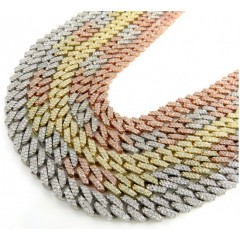 10k Solid Yellow Gold Diamond Miami Chain 20-26