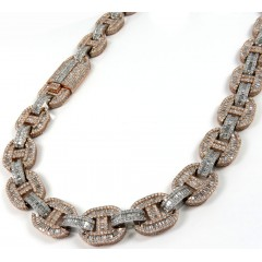 14k Two Tone Gold Baguette Diamond Gucci Link Chain 20-24