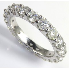 14k White Gold 10 Pointer Eternity Diamond Wedding Band 2.00ct