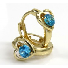 14k Yellow Gold Kids Aquamarine Heart Earrings 0.20ct