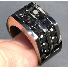 Black Sterling Silver Black Diamond Pinky Ring 7.00ct