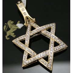 1.00ct 14k Yellow Gold Diamond Star Of David Pendant