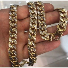10k yellow gold diamond cut miami hollow chain 11m 26'