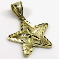 14k Yellow Gold Diamond Cut Star Pendant