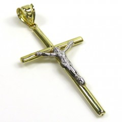 14k Yellow Gold Hanging Jesus Tube Cross