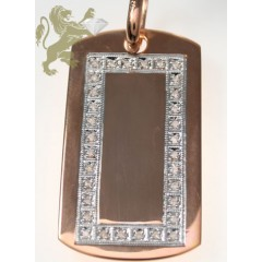 0.50ct 14k Solid Rose Gold Diamond one Row Rose Dog Tag