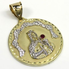 10k Yellow Gold Medium Santa Barbara Red Cz Pendant 0.10ct