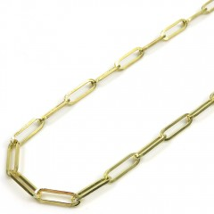 10k Yellow Gold Solid Paper Clip Chain 16-22 Inch 3mm