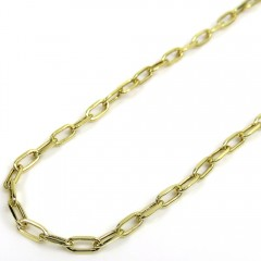 10k Yellow Gold Skinny Hollow Paper Clip Chain 16-22 Inch 2.20mm